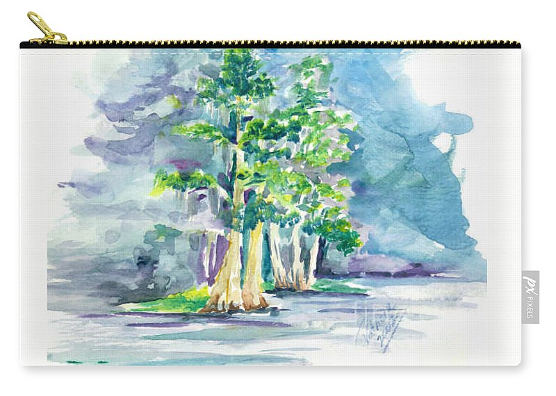 Florida Cypress Hammock In Nature Preserve At San Pedro Catholic Retreat Center Winter Park Florida Carry-all Pouch featuring the painting Cypress At San Pedro Center by Patricia Ducher