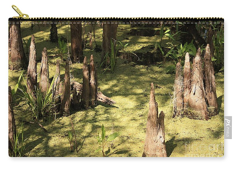 Swamps Carry-all Pouch featuring the photograph Cypress Knees In Green Swamp by Carol Groenen