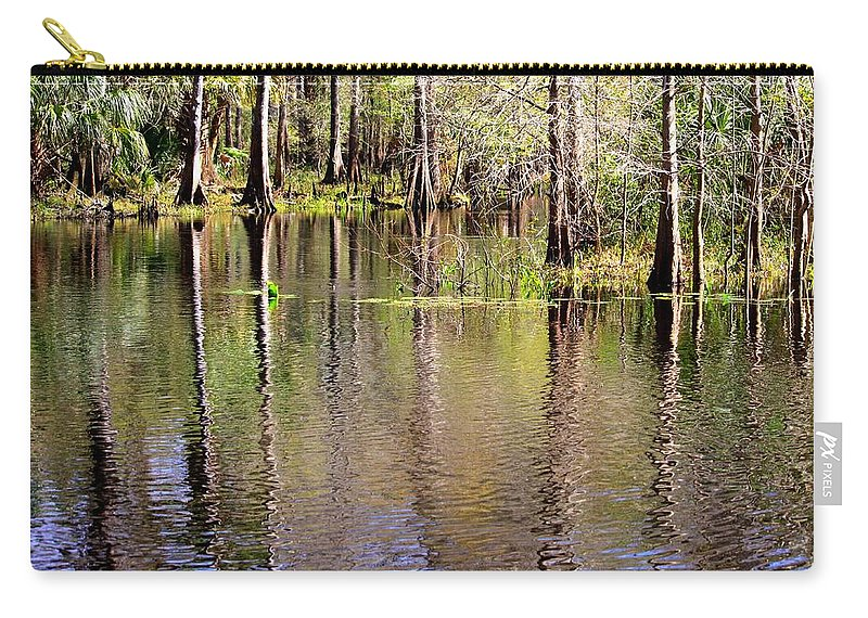 Cypress Trees Carry-all Pouch featuring the photograph Cypress Trees Along The Hillsborough River by Carol Groenen