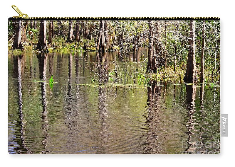 Cypress Trees Carry-all Pouch featuring the photograph Cypresses Reflection by Carol Groenen