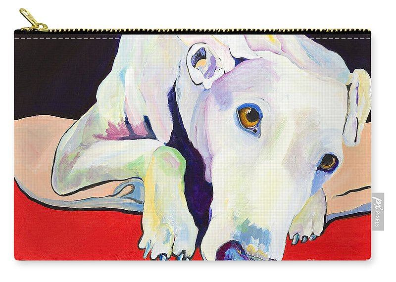 Animals Pets Greyhound Carry-all Pouch featuring the painting Cyrus by Pat Saunders-White