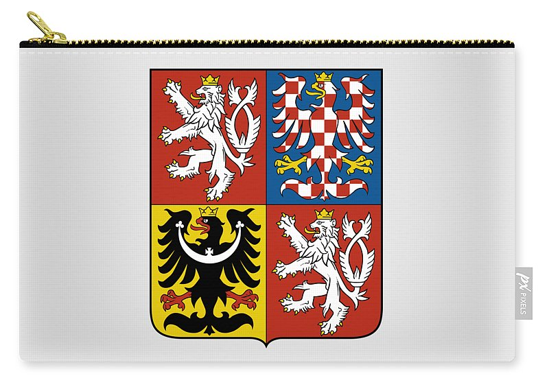 Czech Republic Carry-all Pouch featuring the drawing Czech Republic Coat Of Arms by Movie Poster Prints