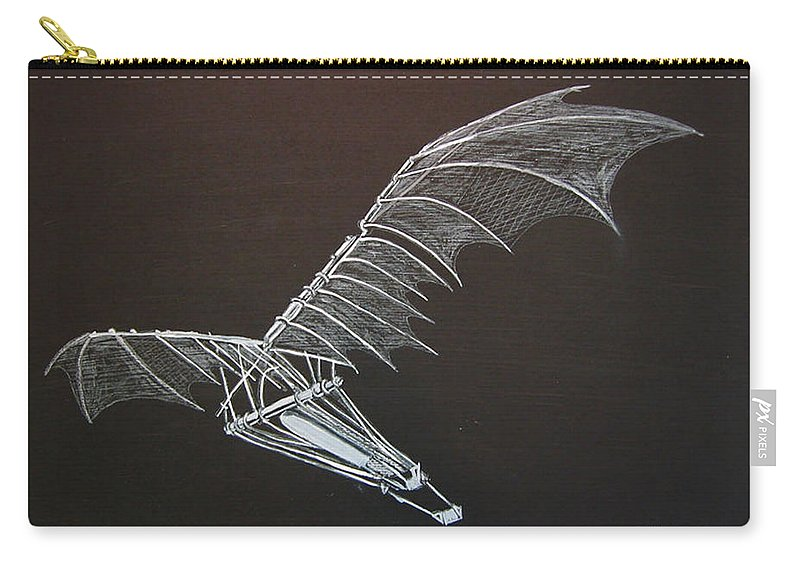 Flying Carry-all Pouch featuring the painting Da Vinci Flying Machine by Richard Le Page