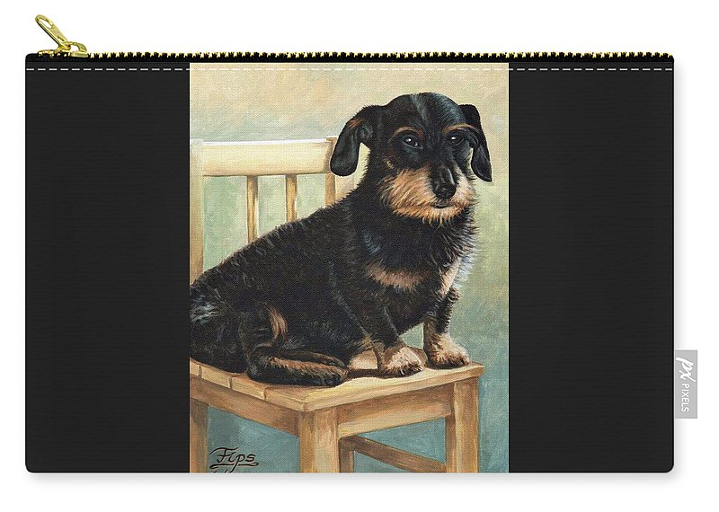 Dog Carry-all Pouch featuring the painting Dachshund by Nicole Zeug