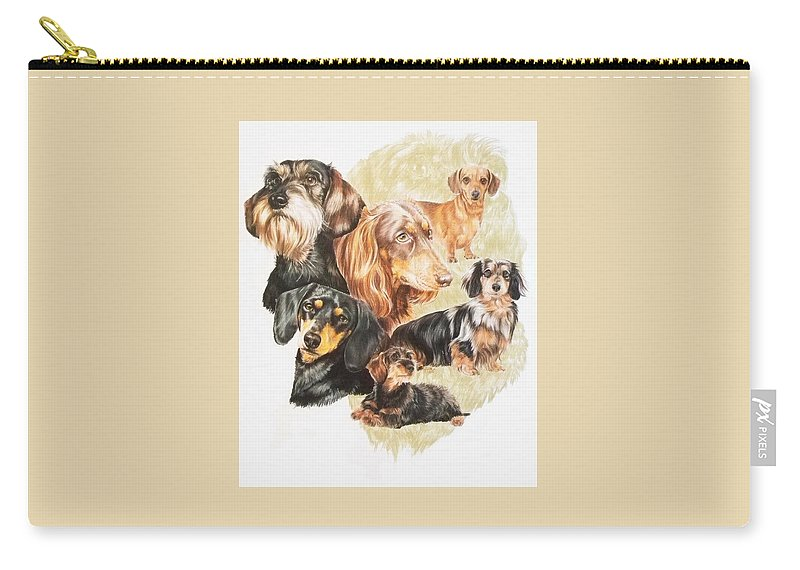 Purebred Dog Carry-all Pouch featuring the drawing Dachshund Revamp by Barbara Keith