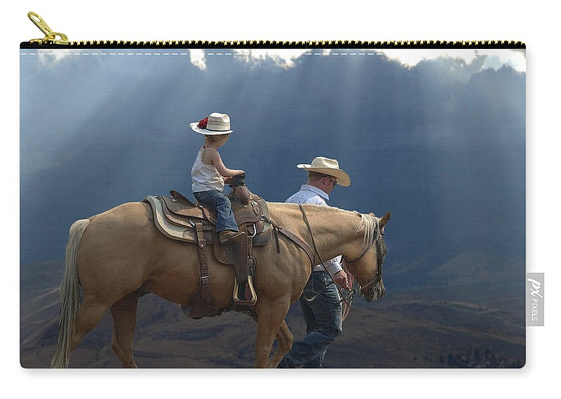 Little Cowgirl Carry-all Pouch featuring the photograph Daddy's Girl by Elizabeth Waitinas