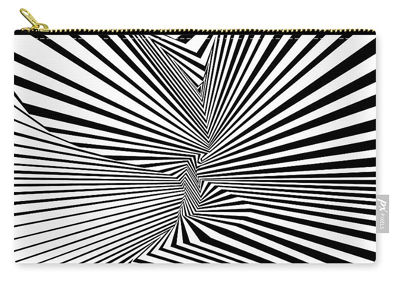 Dynamic Black And White Carry-all Pouch featuring the digital art Daerd by Douglas Christian Larsen