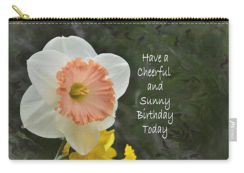Birthday Carry-all Pouch featuring the digital art Daffodil Peach And Yellow Birthday by Debby Pueschel