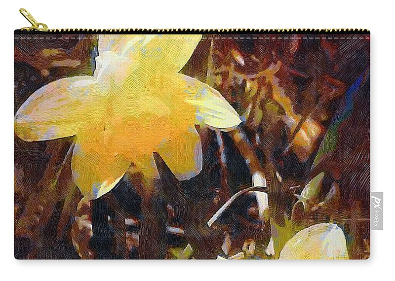 Daffodils Carry-all Pouch featuring the painting Daffs Gone Goth by RC DeWinter