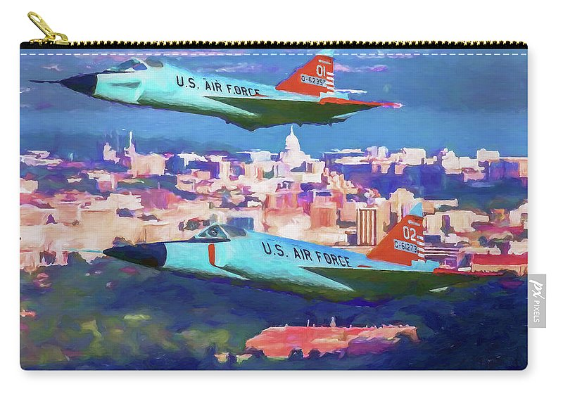 Convair F-102 Delta Dagger Carry-all Pouch featuring the digital art Daggers Over Madison In Oil by Tommy Anderson