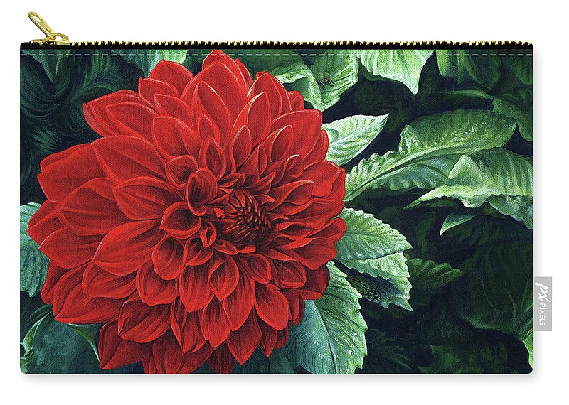 Dahlia Carry-all Pouch featuring the painting Dahlia Dawn by Cara Bevan