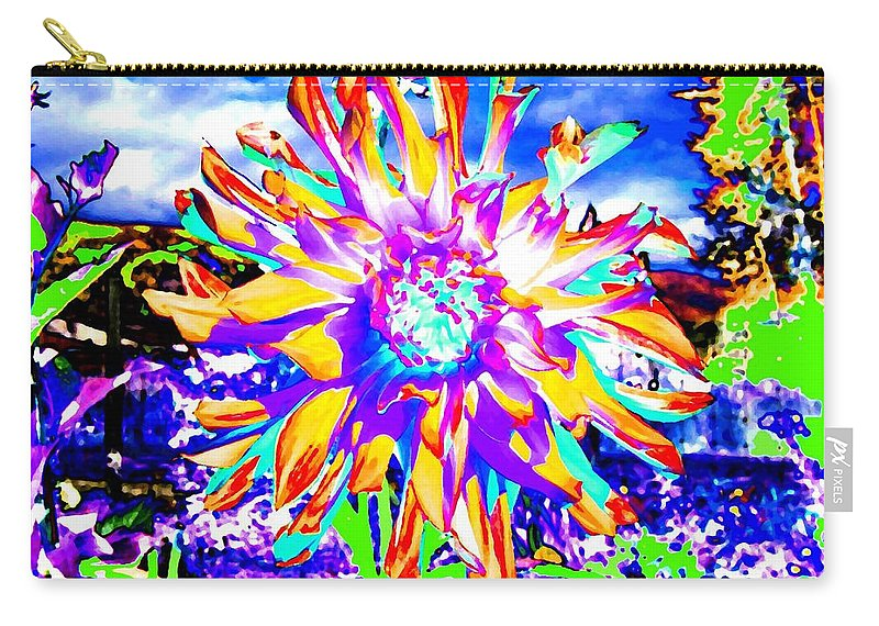 Dahlia Carry-all Pouch featuring the digital art Dahlia Dazzle by Will Borden