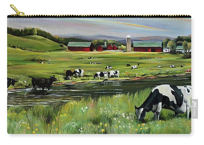 Landscape Carry-all Pouch featuring the painting Dairy Farm Dream by Nancy Griswold