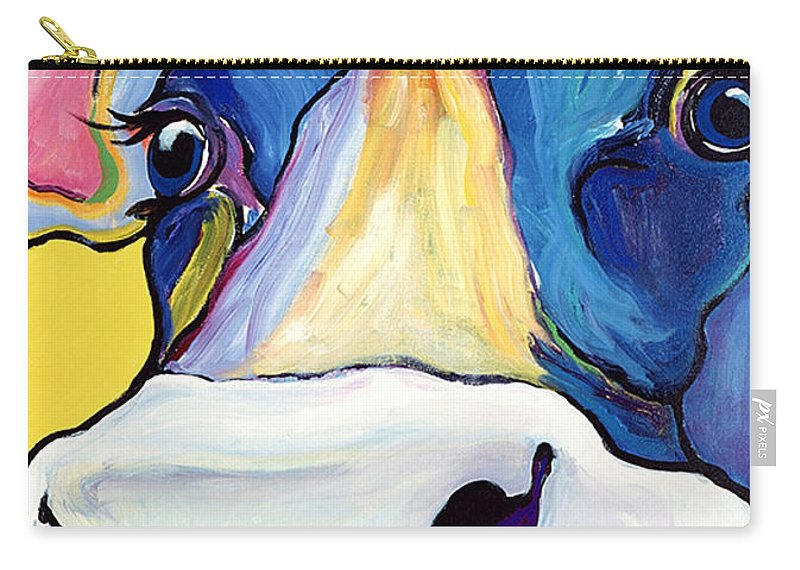 Cow Print Carry-all Pouch featuring the painting Dairy Queen I  by Pat Saunders-White
