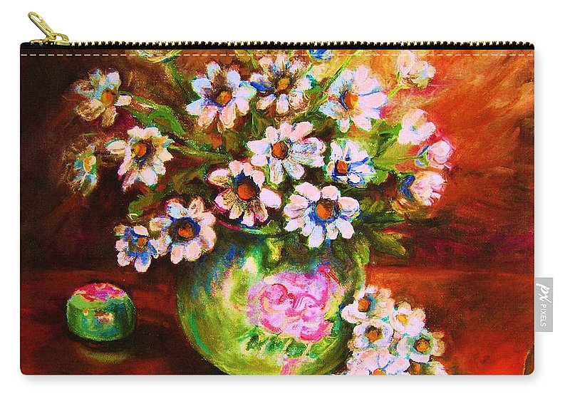 Daisies Carry-all Pouch featuring the painting Daisies And Ginger Jar by Carole Spandau