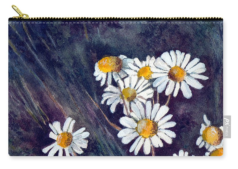 Watercolor Still Life Daisies Flowers Floral Carry-all Pouch featuring the painting Daisies by Brenda Owen