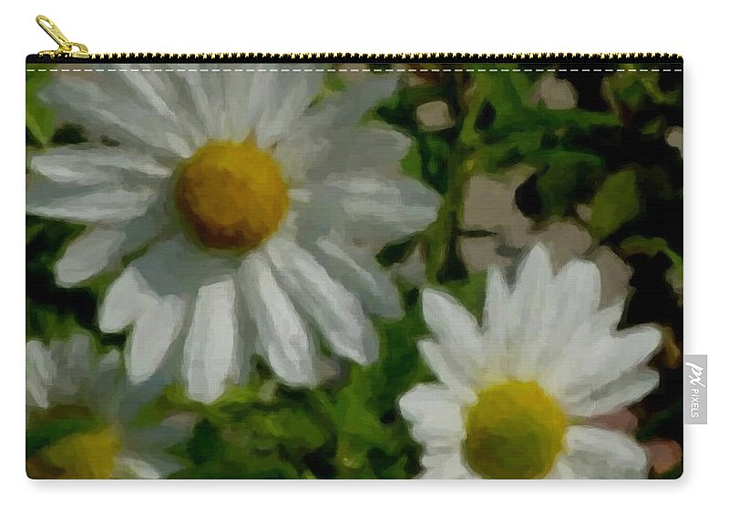 Daisy Carry-all Pouch featuring the digital art Daisies By The Number by Anita Burgermeister