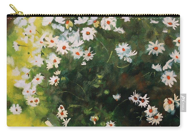 Daisies Carry-all Pouch featuring the painting Daisies by Iliyan Bozhanov
