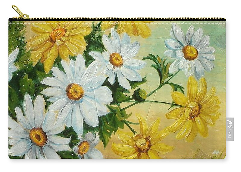 Daisies Carry-all Pouch featuring the painting Daisies In The Sky by Sorin Apostolescu