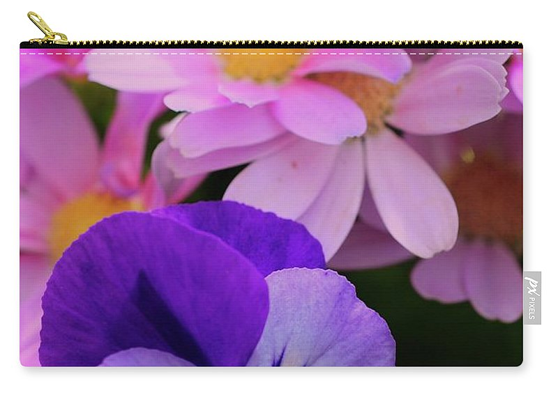 Daisy Carry-all Pouch featuring the photograph Daisy And Pansy by Kathleen Struckle