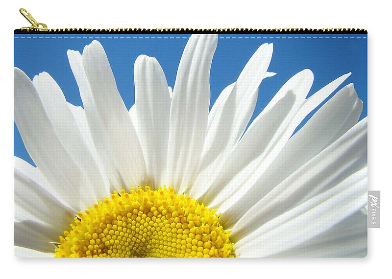 Daisy Carry-all Pouch featuring the photograph Daisy art prints White Daisies Flowers Blue Sky by Baslee Troutman
