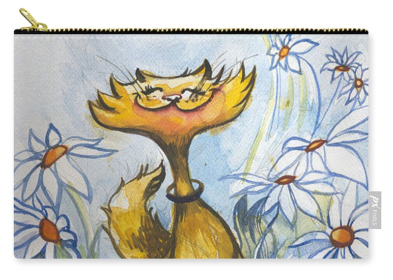 Cat Carry-all Pouch featuring the painting Daisy Bliss by Sarah Madsen