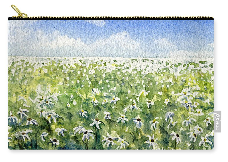 Nature Carry-all Pouch featuring the painting Daisy Field by Mary Tuomi
