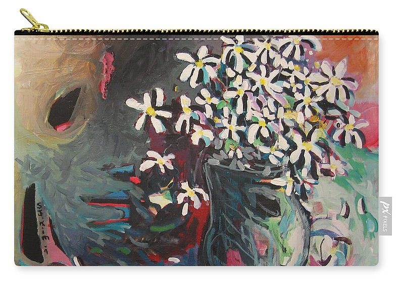 Daisy Paintings Carry-all Pouch featuring the painting Daisy In Vase by Seon-Jeong Kim