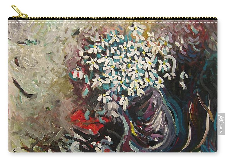 Daisy Paintings Carry-all Pouch featuring the painting Daisy In Vase3 by Seon-Jeong Kim