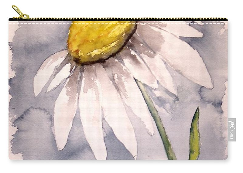 Daisy Carry-all Pouch featuring the painting Daisy Modern poster print fine art by Derek Mccrea