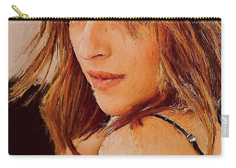 Johnny Depp Carry-all Pouch featuring the painting Dakota Johnson 56yh by Gull G