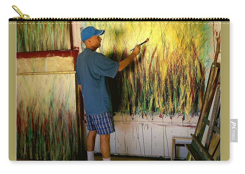 Painter In Studio Carry-all Pouch featuring the painting Dale Painting by Dale Wilhite
