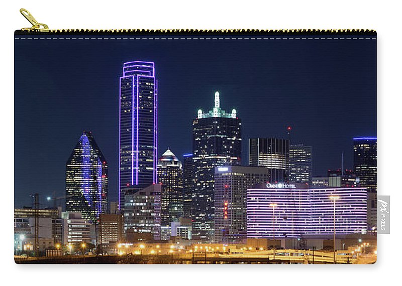 Dallas Skyline Carry-all Pouch featuring the photograph Dallas Purple Night 71417 by Rospotte Photography