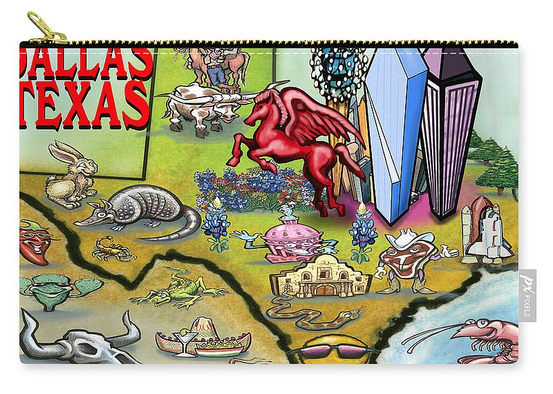 Dallas Carry-all Pouch featuring the digital art Dallas Texas Cartoon Map by Kevin Middleton