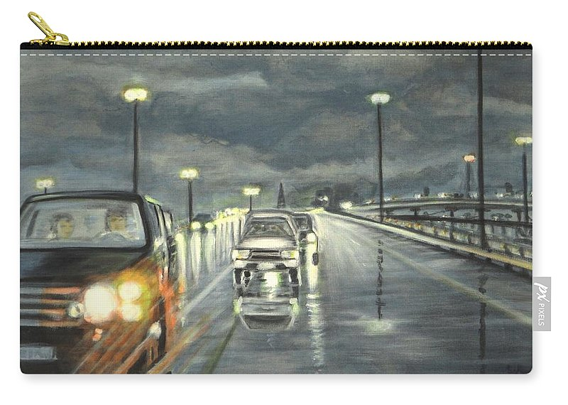 Dallas Carry-all Pouch featuring the painting Dallas Traffic by Usha Shantharam