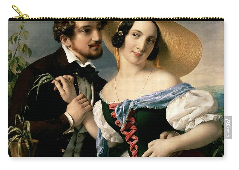 Dalliance Carry-all Pouch featuring the painting Dalliance by Miklos Barabas