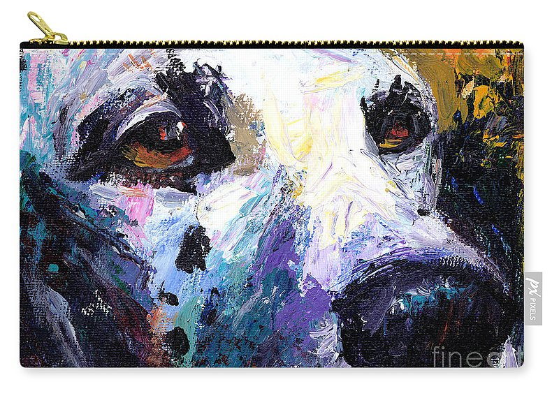 Dalmatian Painting Carry-all Pouch featuring the painting Dalmatian Dog Painting by Svetlana Novikova