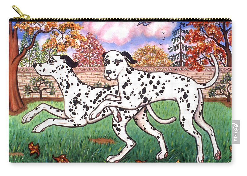 Dog Carry-all Pouch featuring the painting Dalmatians Two by Linda Mears