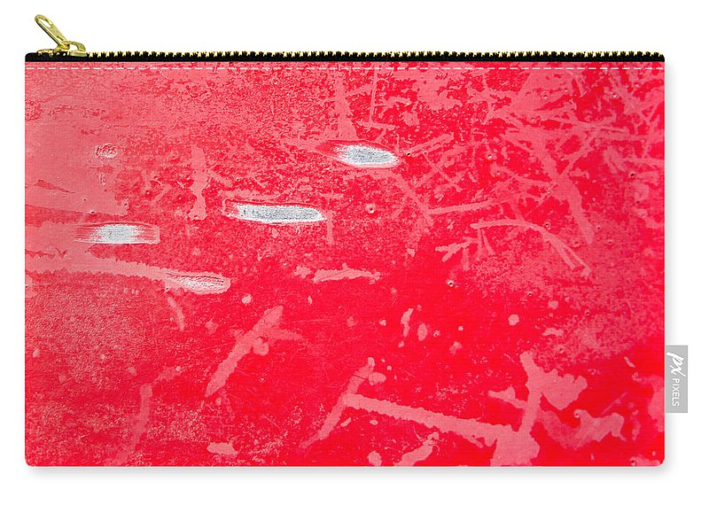 Abstract Carry-all Pouch featuring the photograph Damaged Red Metal by Tom Gowanlock