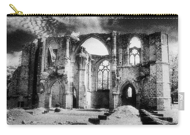 Architecture; Abbaye; Medieval; Gothic; Ruin; Ruins; Ruined; Remains; Tracery; Picturesque Carry-all Pouch featuring the photograph Dammarie Les Lys Abbey by Simon Marsden