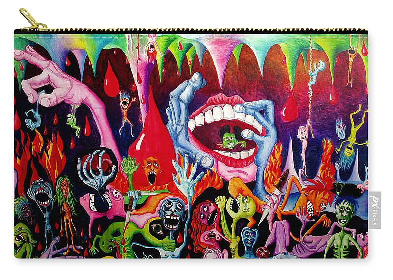 Hell Carry-all Pouch featuring the painting Damnation of the Evil by Nancy Mueller