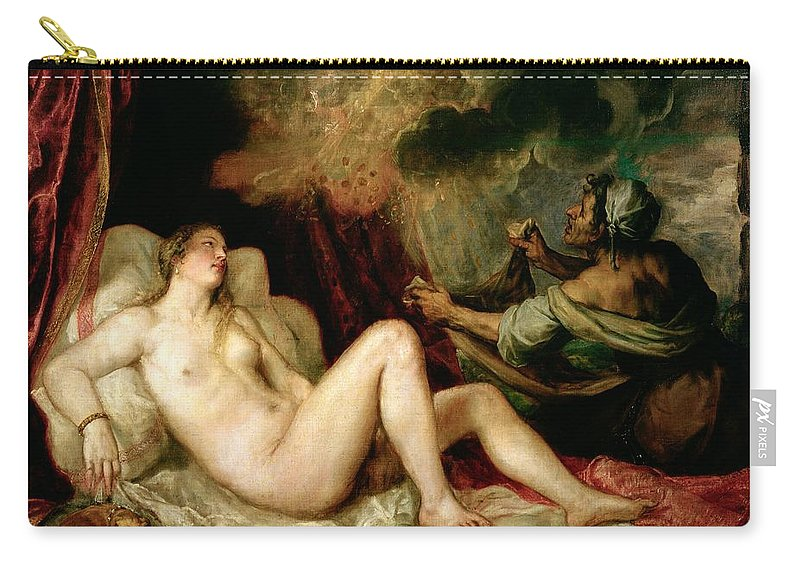 Danae Carry-all Pouch featuring the painting Danae Receiving The Shower Of Gold by Titian