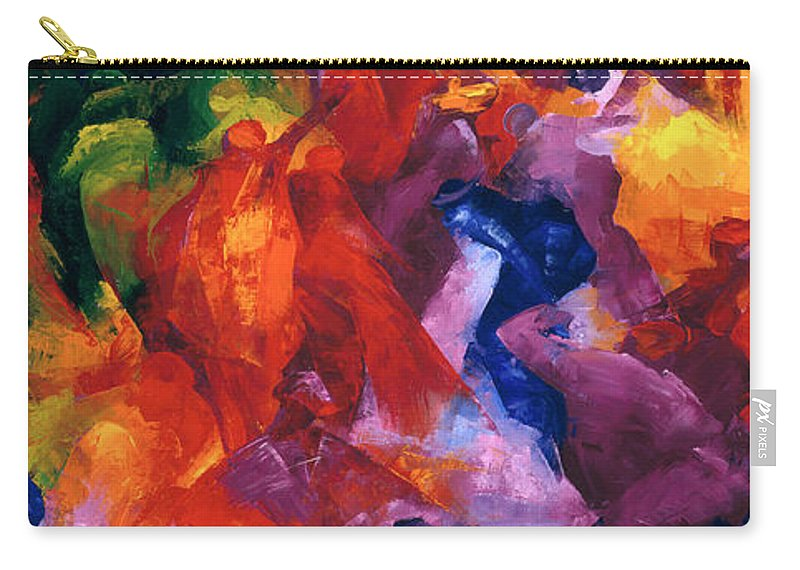 Dance 2 Carry-all Pouch featuring the painting Dance by Bayo Iribhogbe