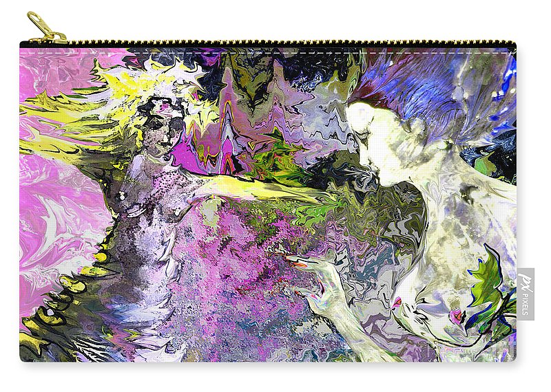 Miki Carry-all Pouch featuring the painting Dance In Violet by Miki De Goodaboom