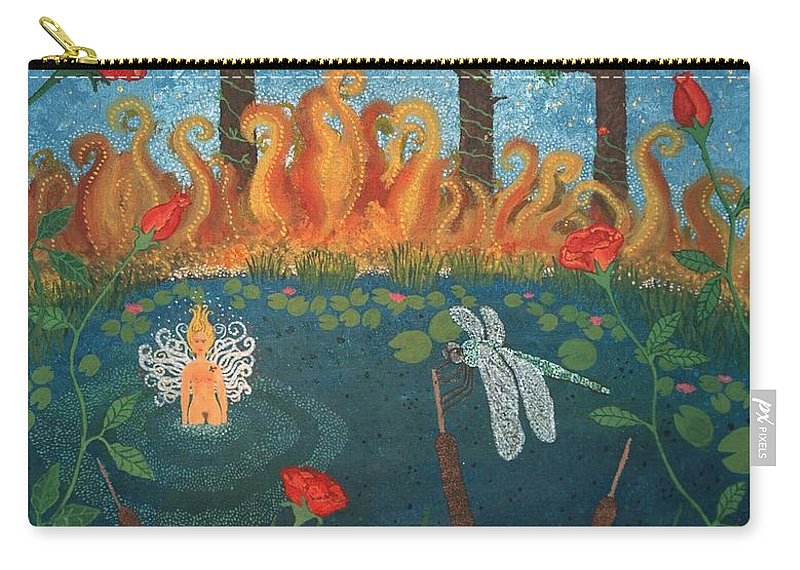 Woman Carry-all Pouch featuring the painting Dance Of The Dragonfly. / The Best Is Yet To Come. by Annika Persson