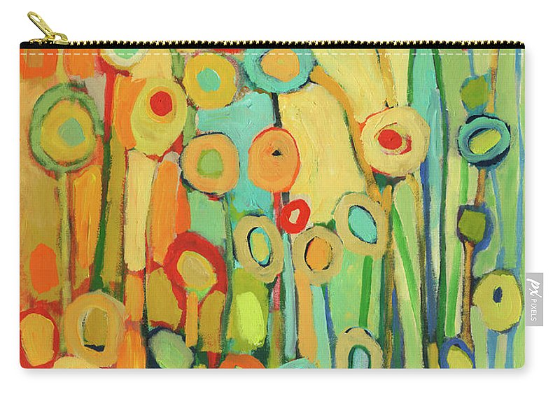 Floral Carry-all Pouch featuring the painting Dance of the Flower Pods by Jennifer Lommers