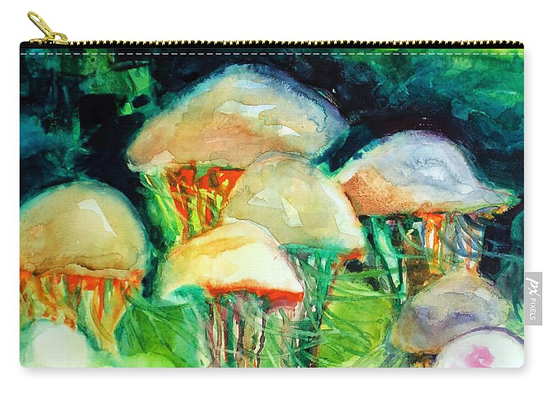 Paintings Carry-all Pouch featuring the painting Dance Of The Jellyfish by Kathy Braud