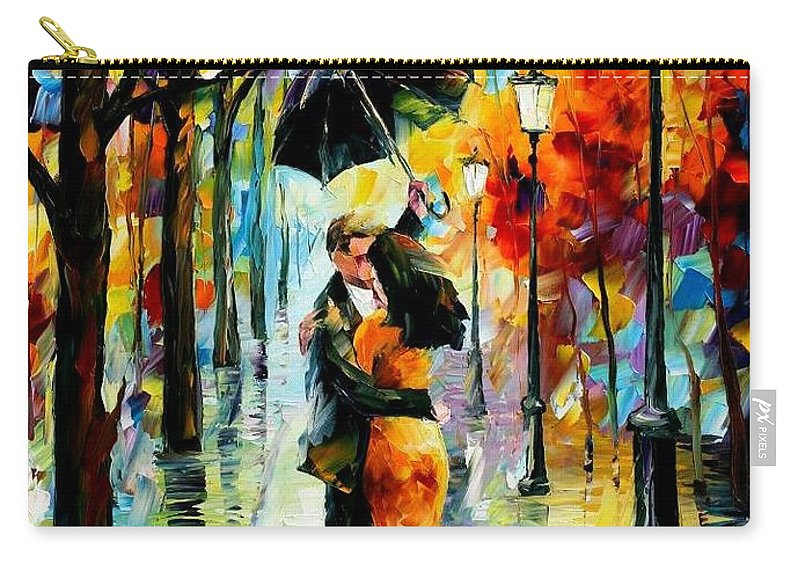 Afremov Carry-all Pouch featuring the painting Dance Under The Rain by Leonid Afremov