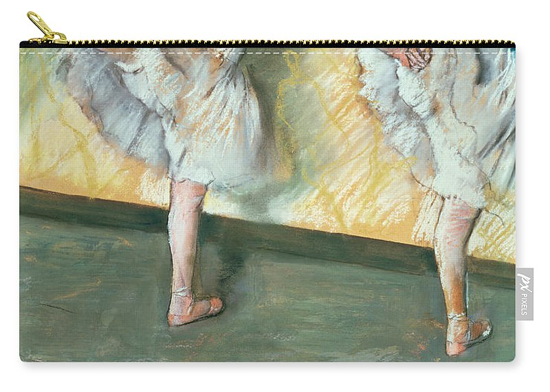 Danseuses A La Barre; Ballet; Impressionist; Stretching; Ballerina; Exercise; Warming Up; Step; Position; Dancer; Danseuse; Impressionism; Dancing; Tutu; Dance; Practice Carry-all Pouch featuring the pastel Dancers At The Bar by Edgar Degas