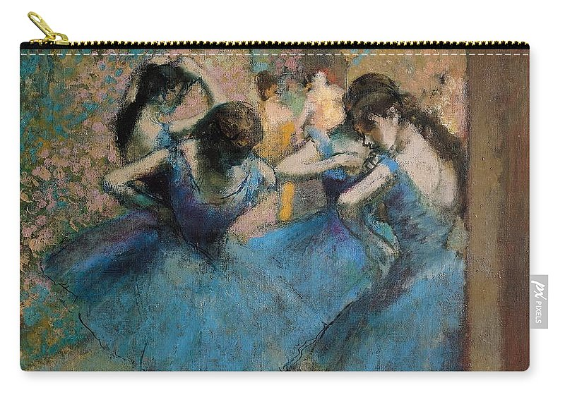Dancers Carry-all Pouch featuring the painting Dancers In Blue by Edgar Degas